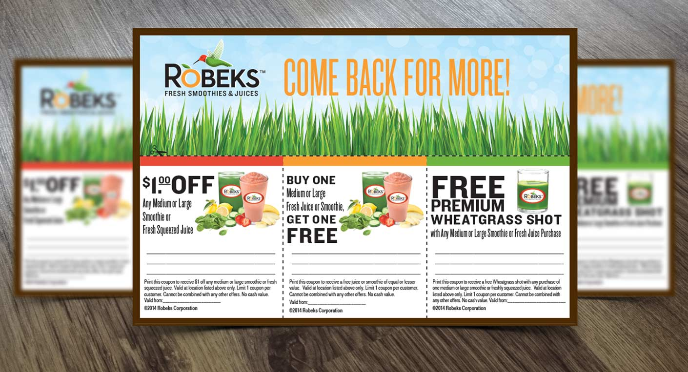 coupon design for juice, food company