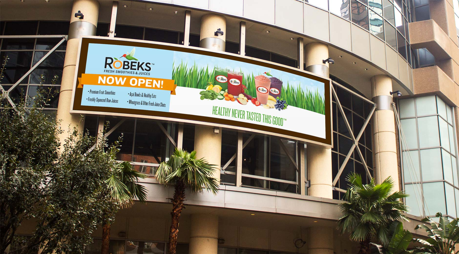 billboard signage design for Grand Opening of juice company in Los Angeles area